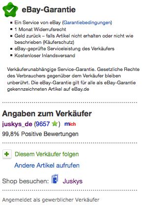Ebay Verkäufer Info